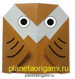 оригами сова мордочка