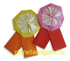 Оригами медаль из бумаги