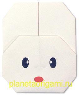 оригами мордочка зайца