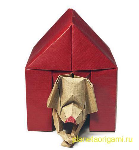 Собачка в конуре из бумаги