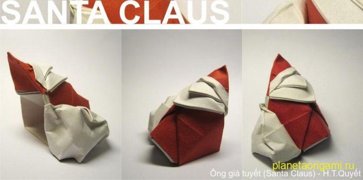 Оригами санта из бумаги