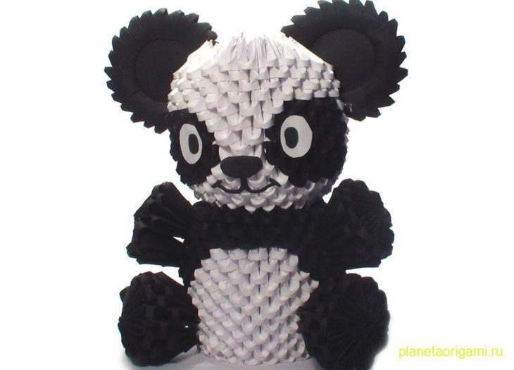 3D панда из треугольных модулей