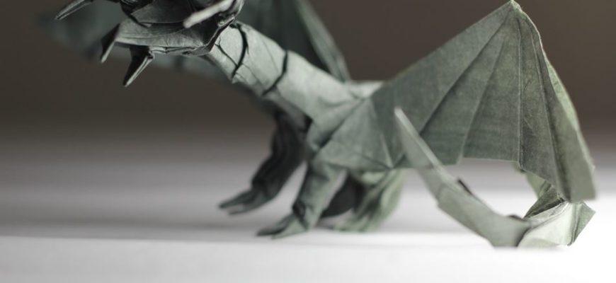 Оригами дракон тьмы