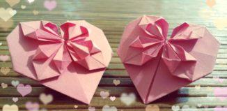 Оригами сердца из бумаги розового цвета