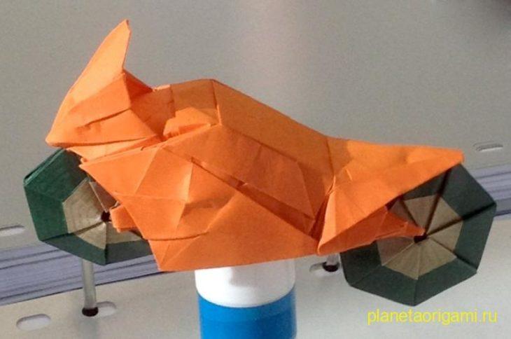 Оригами мотоцикл по схеме Ryo Aoki