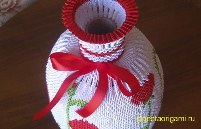 Оригами напольная ваза из модулей