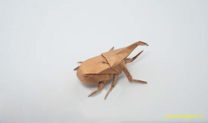 Оригами Жук-геркулес по схеме Джо Накашима (Jo Nakashima