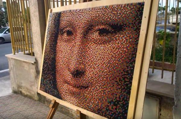 Мона Лиза из треугольных модулей