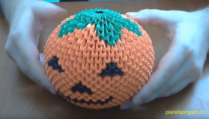 Оригами тыква из модулей по схеме Campean Petru Razvan