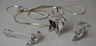 серьги оригами
