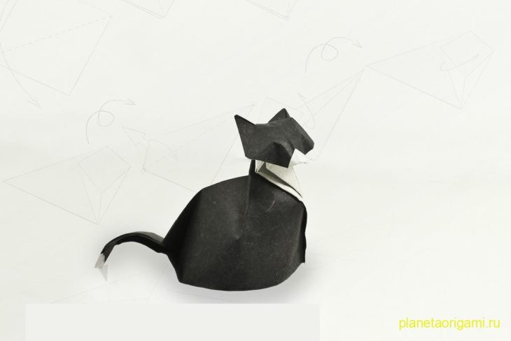 Оригами Кошка по схеме Fabian Correa