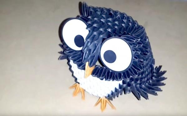 Оригами сова из модулей по схеме Luis Horacio Salvatierra