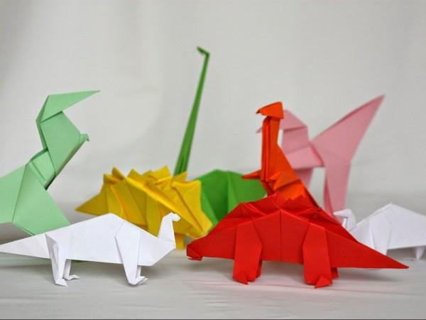 оригами динозавры