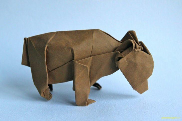 Оригами медведь по схеме John Szinger