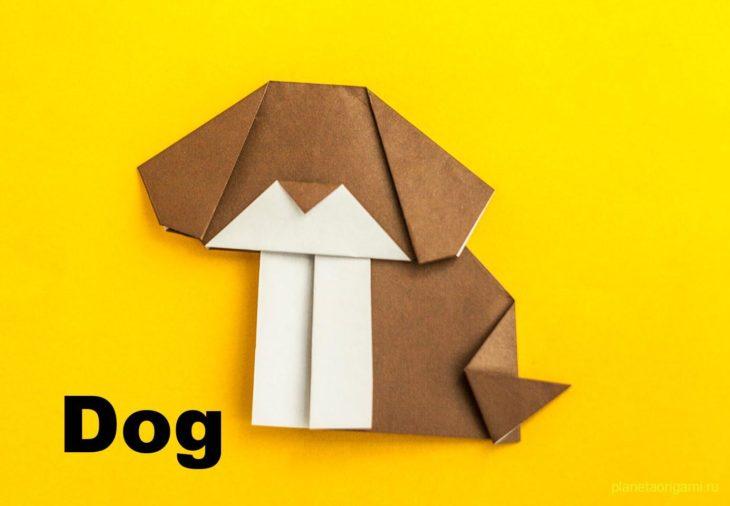 Закладка собака оригами