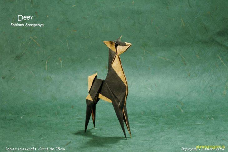 Оригами олень по схеме Fabiana Sanapanya