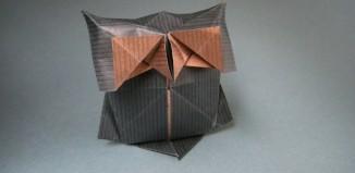 Оригами простая сова по схеме Yann Mouget