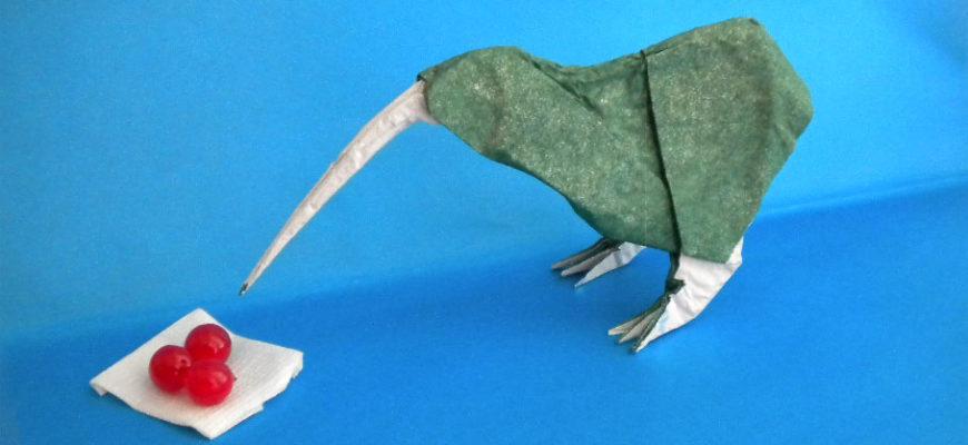 Оригами киви по схеме Романа Диаз