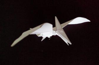 Оригами птеродактиль по схеме Тадаши Мори (Tadashi Mori)