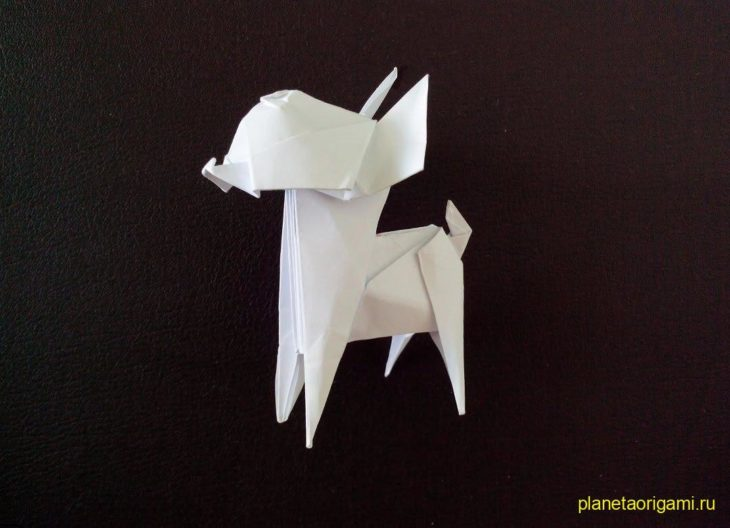 Оригами собака Чихуахуа по схеме Fuchimoto Muneji