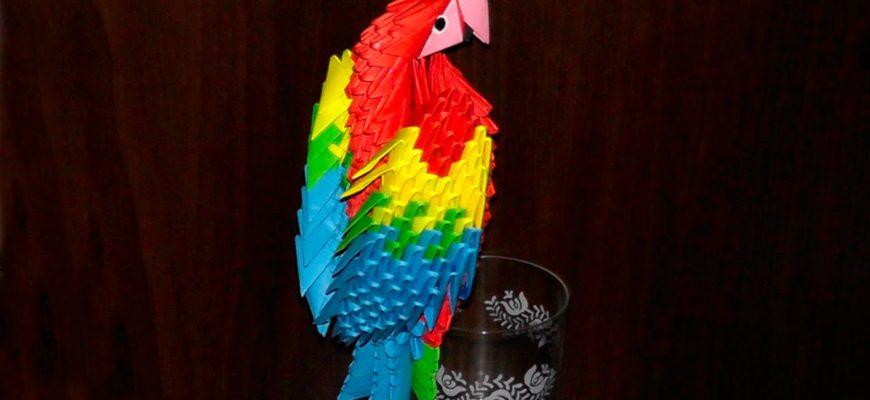 Попугай ара из треугольных модулей