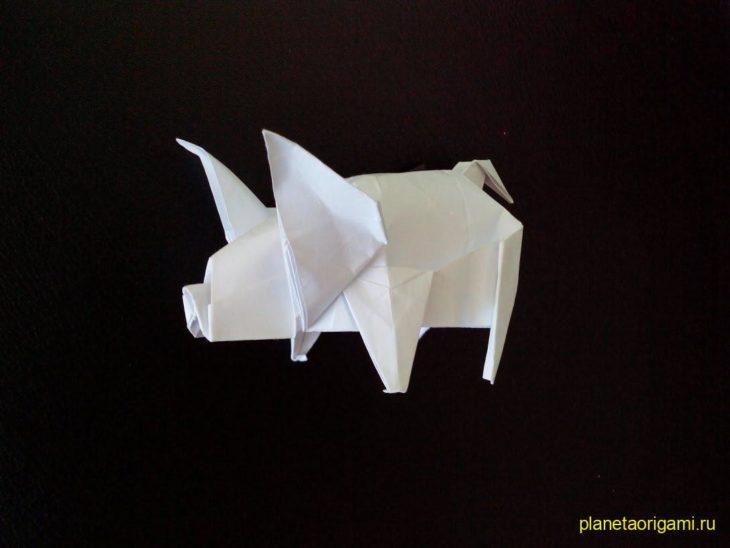 Оригами свинья по схеме Fuchimoto Muneji