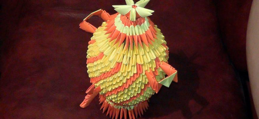 Оригами чайник из треугольных модулей