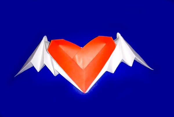 Сердечко с крыльями по схеме Riki Saito