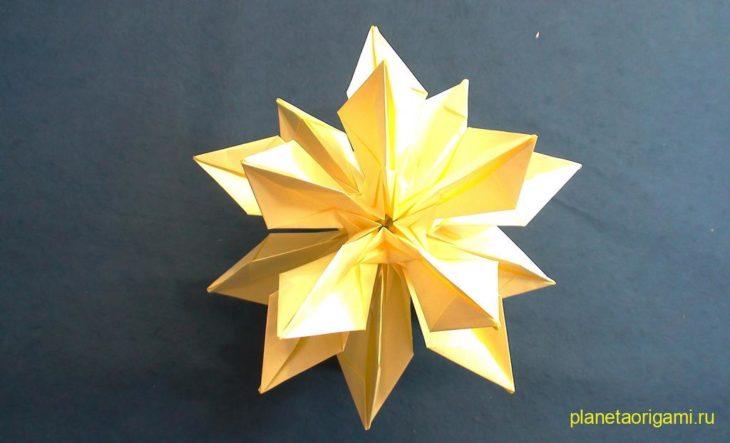Кусудама «Морской ёж-звезда» по схеме M.S Andersen