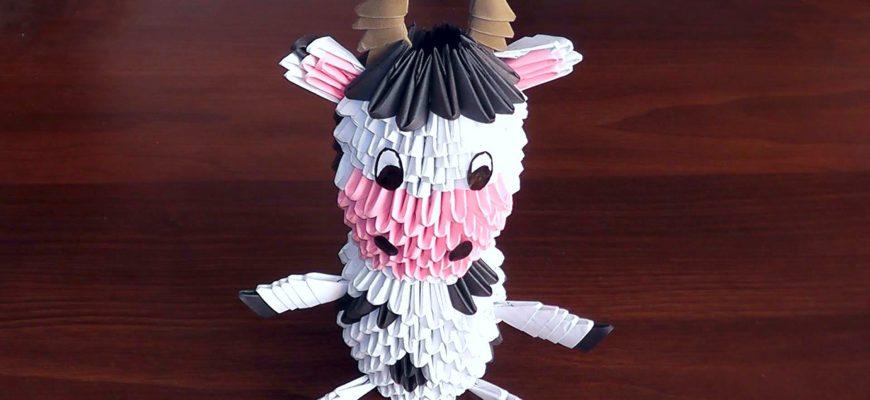 Оригами корова из бумаги. Схема сборки своими руками