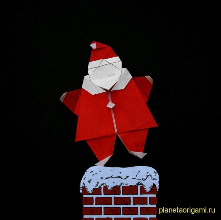 Оригами Санта по схеме Peter Engel