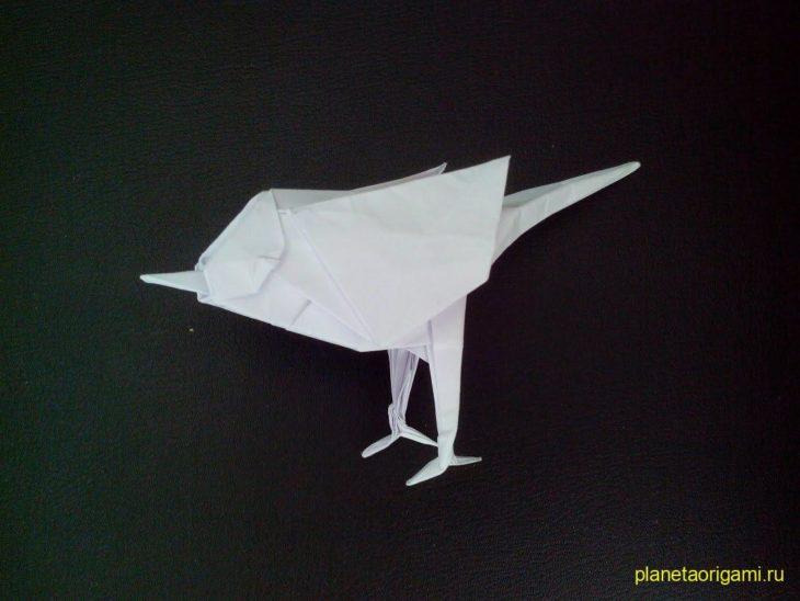 Объемное оригами: Воробей из бумаги