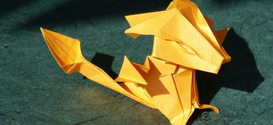 Оригами дракон по схеме Даниэлла Карбони (Daniella Carboni)