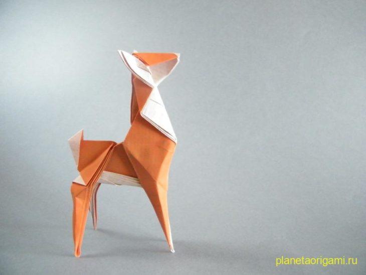 Оригами оленёнок по схеме Stephen Weiss