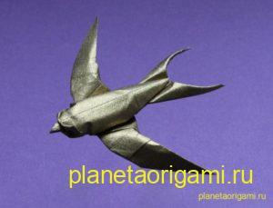 Оригами ласточка по схеме Сифо Мабона