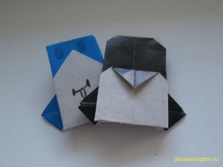 Детское оригами: Пингвин из бумаги (мордочка)
