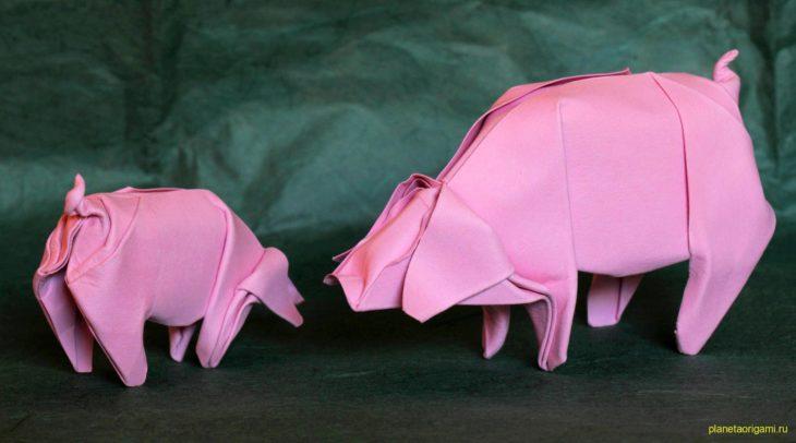 Оригами свинья (фото и видео-схемы сборки)