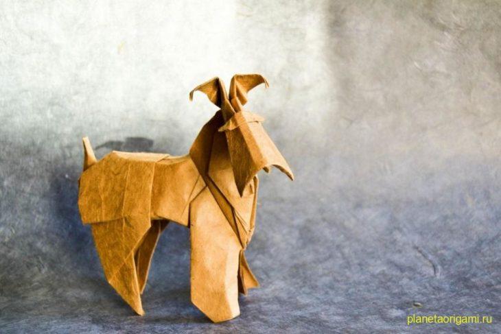 Оригами фокстерьер по схеме Романа Диаз (Roman Diaz)
