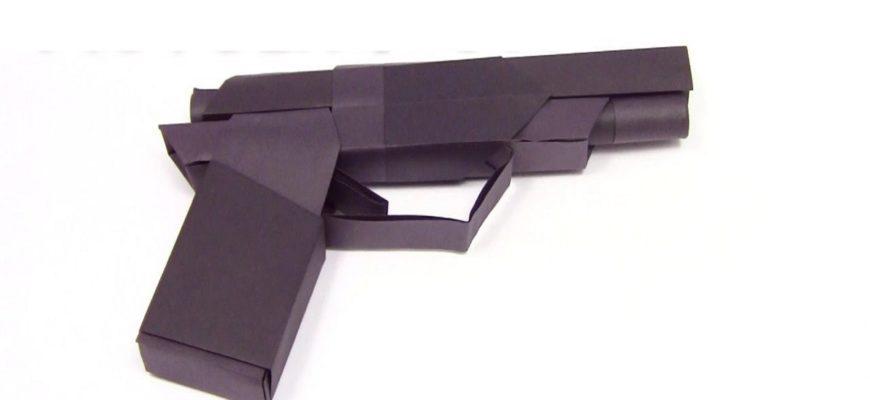 Оригами пистолет по схеме Винцента Дольца (Vicente Dolz)