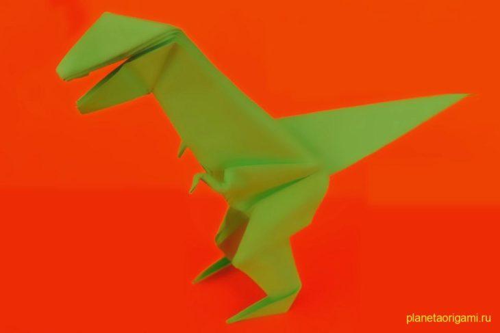 Оригами T-Rex в движении по схеме Джереми Шейфера (Jeremy Shafer)
