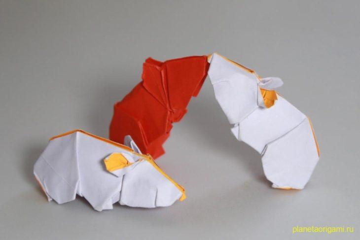 Оригами хомяк по схеме Генри Фама (Henry Pham)