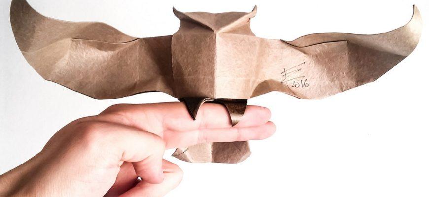 Оригами сова по схеме Рикардо Фоши (Riccardo Foschi)