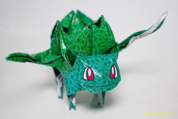 Оригами Покемон Бульбазавр по схеме Генри Фама (Henry Pham)