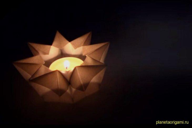 Оригами бумажный подсвечник