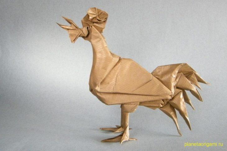 Оригами петух по схеме Эрика Жуазеля (Eric Joisel)