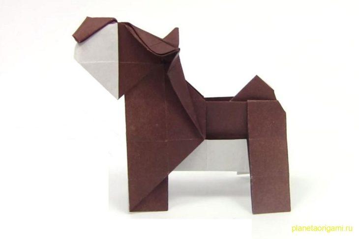 Оригами простая собака по схеме Романа Петренко