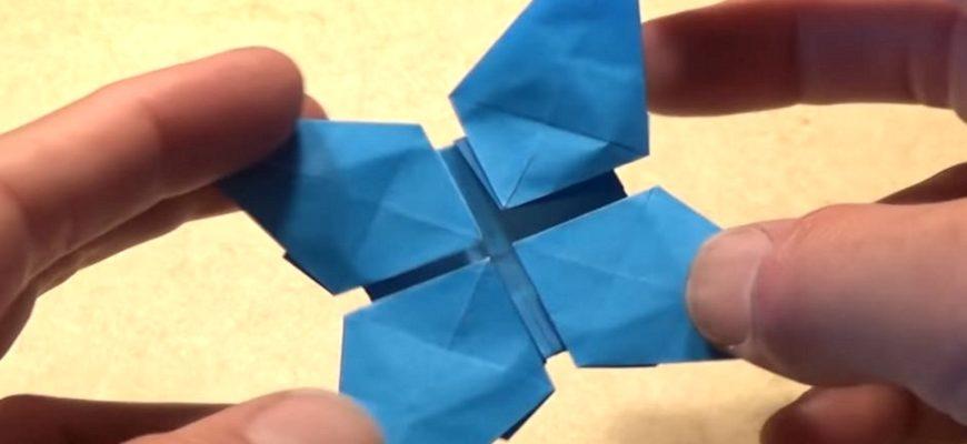 Оригами хлопающая звезда по схеме Джереми Шейфера (Jeremy Shafer)