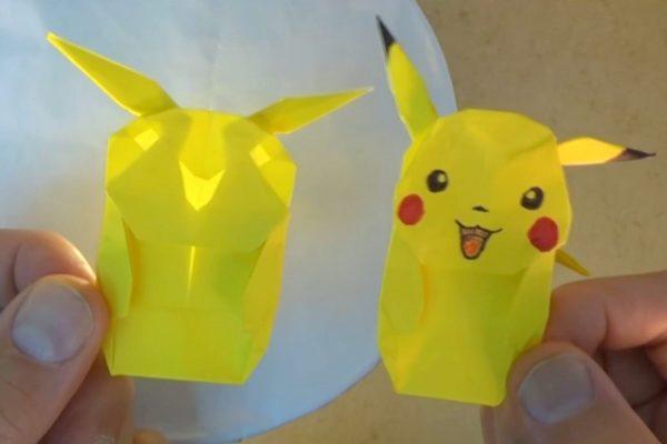 Оригами Пикачу из бумаги