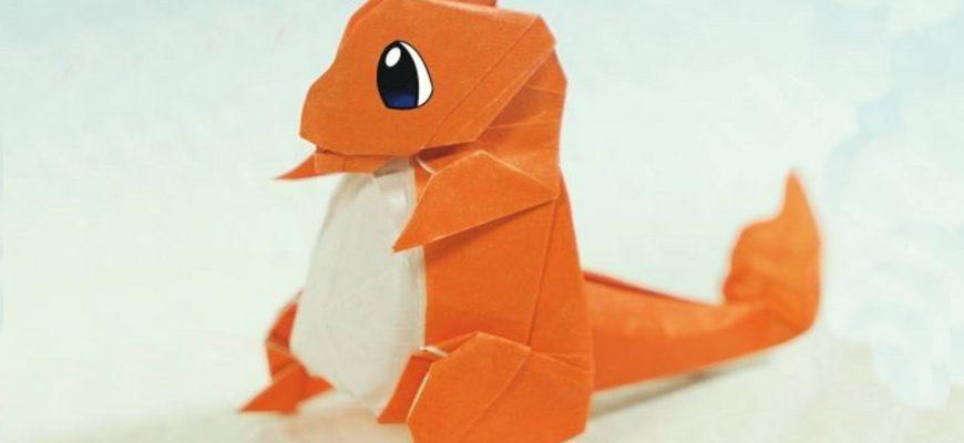 Оригами покемон Чармандер из бумаги оранжево-белого цвета