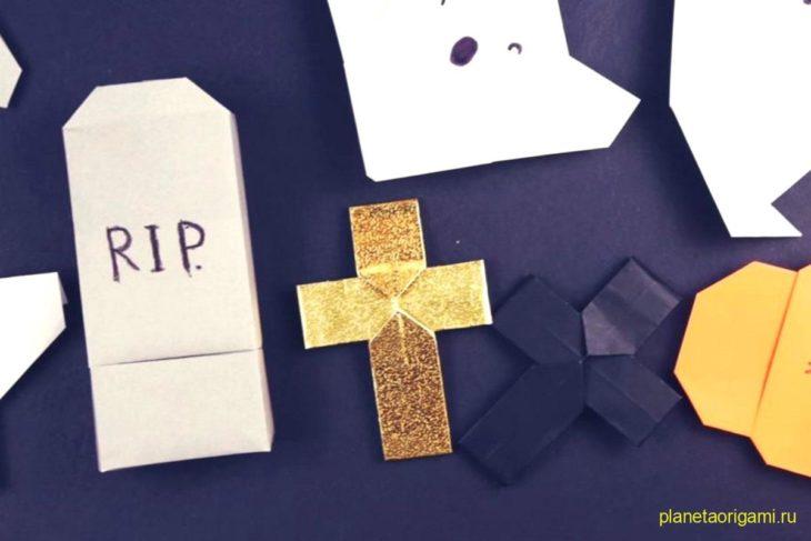 Оригами кресты из бумаги золотого и тёмно-синего цветов